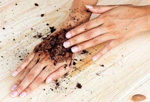 used coffee grounds scrub